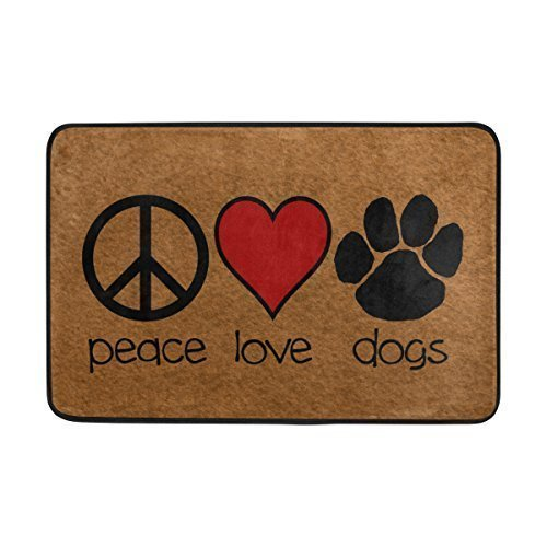 - Pingshoes Entrance Doormat Peace Sign Love Red Heart Dogs Paw Door Mat Outdoor Indoor Cotton interlayer Polyester Fabric Top inch