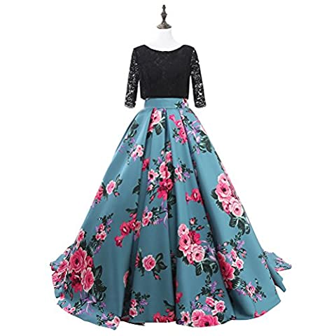 JoJoBridal Women's Floral Print Prom Dresses Ball Gown with Sleeves Size 8 Blue