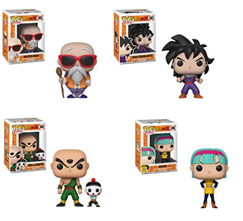 Funko Animation: Pop! Dragon Ball Z Series 4 Collectors Set - Master Roshi with Staff, Gohan, Chiaotzu & Tien, Bulma Toy -