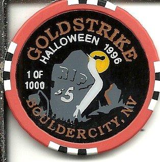 $5 gold strike 1996 halloween boulder city, nevada casino chip -