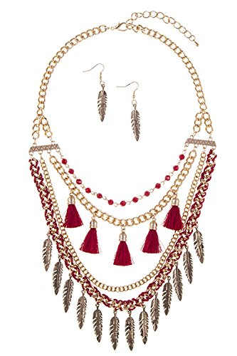 GlitZ Finery ETCHED LEAF AND TASSEL ACCENT TIERED NECKLACE SET (Burgundy)