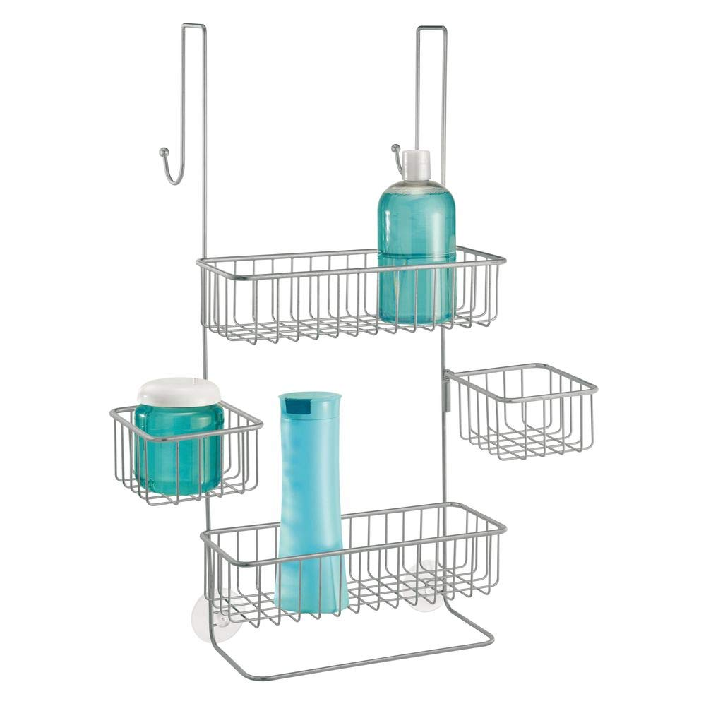 InterDesign Metalo Metal Bathroom Over the Door Shower Caddy with Storage Baskets Shelves for Shampoo, Conditioner, Soap, Loofahs, Hand Towels, 10.5'' x 8.25'' x 22.75'', Silver
