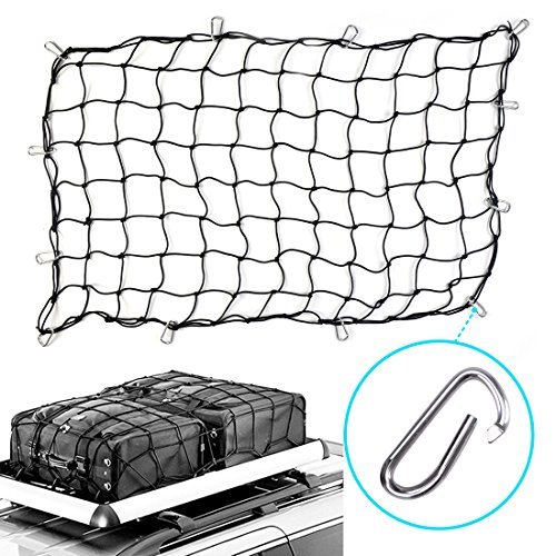 4in 1 Cargo - 3'x5' Bungee Cargo Net Heavy Duty Truck Bed Net Stretches to 5'x8' Bungee Cord Tie-Down Net For Rooftop Cargo Carrier with 12 Hooks Small 4