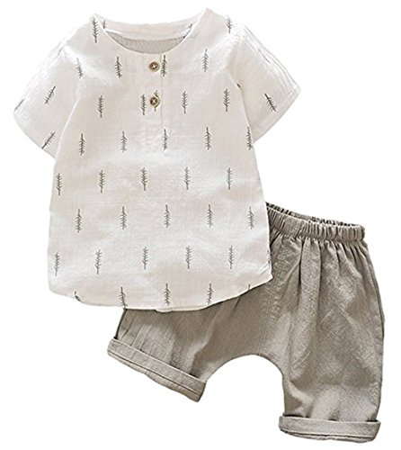 Summer Kids Boys Casual Soft Linen Short Sleeve Leaf Tops + Harem Pants Set size 2-3 Years (Grey)