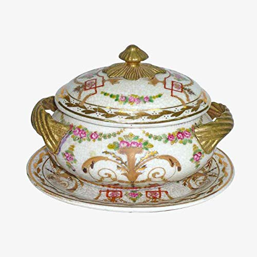 Better & Best Forero Gold Ceramic Server, Round with Bronze Handles, with Lid and Plate, Decorated with Floral Motifs, Measures 16 x 12 x 12 cm, ()