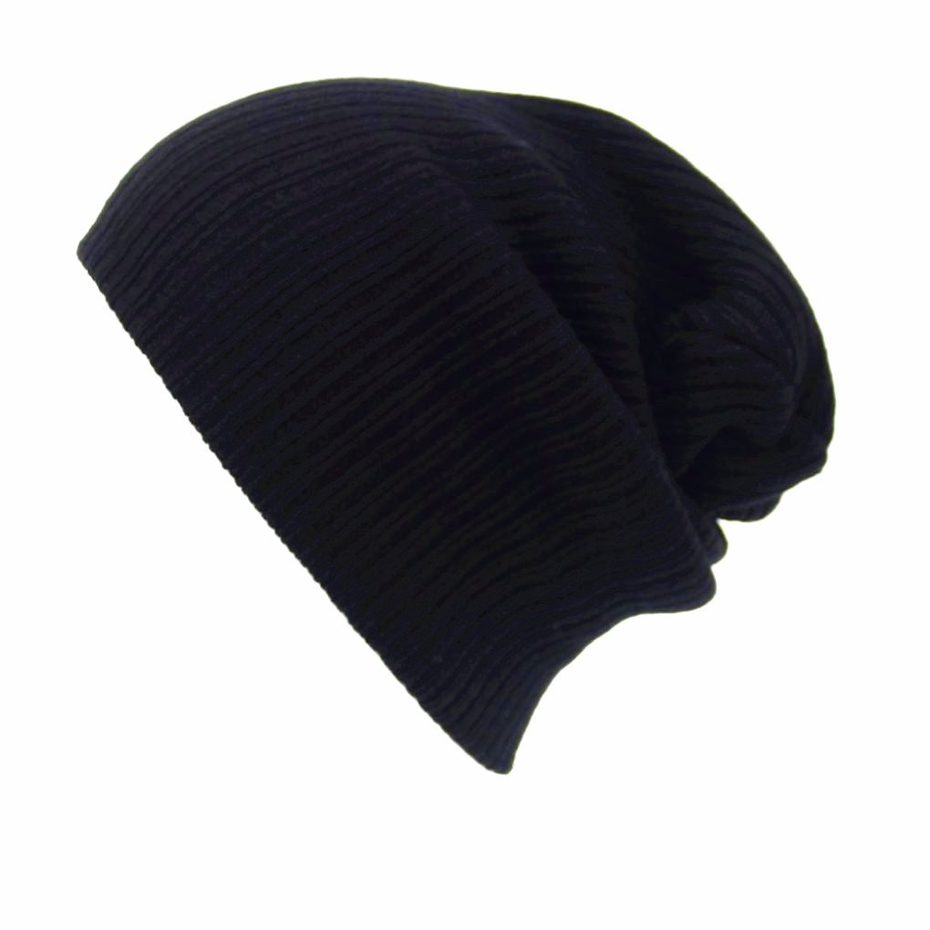 Beanie Knit Hat - Wool Blend Cap- For Women or Men designed by Qisc 11.2'' 7.48'' (Black)