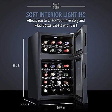 YFGQBCP 24 Botella termoeléctrica Enfriador de Vino Chiller |Mostrador Rojo y Negro Bodega |Autosoportados Frigorífico, Funcionamiento silencioso Frigorífico |Acero Inoxidable