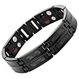 Black Carbon Fiber Titanium Magnetic 4 Element Bracelet Double Strength Adjusting Tool and Gift Box Included By Willis Judd