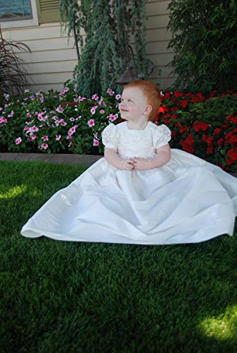 - Debra Lee Originals Christening Gown Dupioni Silk-Poly Cathy/Christening Dress/Blessing Gown/Blessing Dress Baby-Girls - White, 12-18 Months