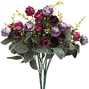 Luyue 7 Branch 21 Heads Artificial Silk Fake Flowers Leaf Rose Wedding Floral Decor Bouquet,Pack of 2 (Purple Coffee) 33
