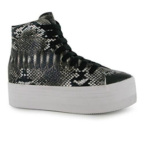 Jeffrey Campbell Play Homg Schlange Plattform Shoes Damen Text/BLK Sportschuhe Sneaker