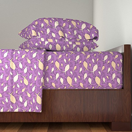 Roostery Ichthys 4pc Sheet Set Joyful Gesture - Plum by Sheila Marie Delgado Queen Sheet Set made with by Roostery