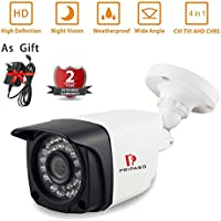 Indoor/ Outdoor Security Wired Camera surveillance system with Pripaso Weatherproof Security Camera System 1.0MP 720P AHD/ TVI/CVI /CVBS CCTV Camera 100ft Night Vision (1.0MP 720P)