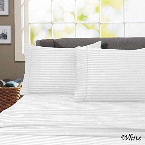 California king 600-Thread Count Wrinkle Resistant-Woven Stripe 100% Egyptian Cotton 4 Piece Sheet Set (California King, White) (Crisp White Bedding)