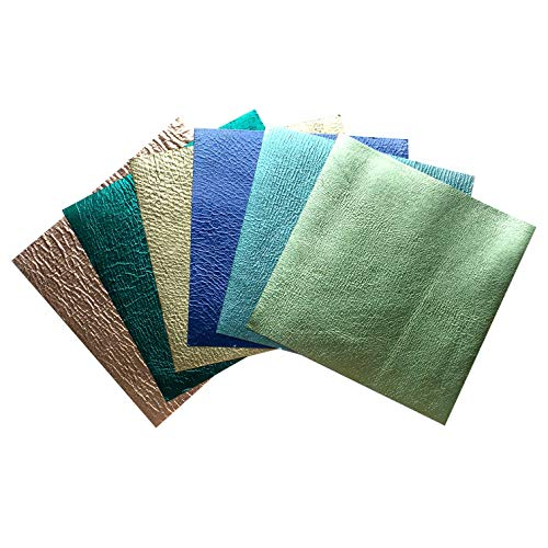 Two-Sided Metallic Sheet Mix: Genuine Sheep Skin Sheets, pre Cut Leather Sheets Double Faced Metallic 5x5In/12x12cm - High Quality Faux Leather