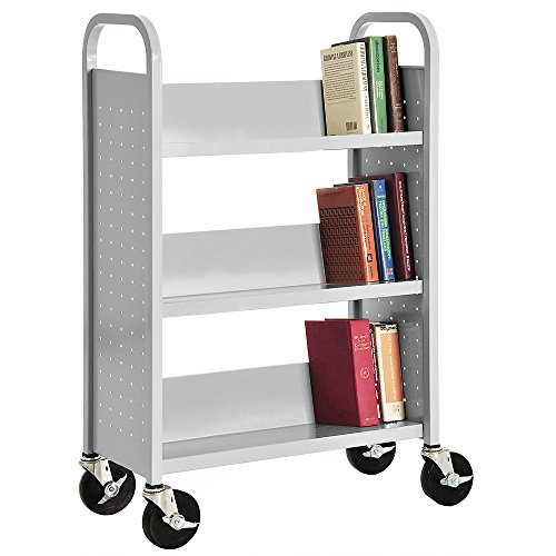 Sandusky Lee Welded Book Truck - 31X13x48'' - 3 Single-Sided Sloping Shelves - Light Gray - Light Gray by Sandusky Lee