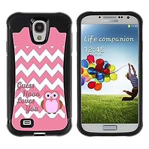 LASTONE PHONE CASE / Suave Silicona Caso Carcasa de Caucho Funda para Samsung Galaxy S4 I9500 / Chevron Quote Owl Pink Love You White