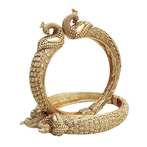 Indian Bollywood Gold Plated Mughal Peacock Bangles / Kada Set Ethnic Indian Traditional Jewelry (2.6)