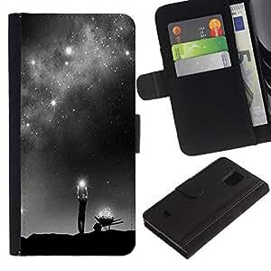 KingStore / Leather Etui en cuir / Samsung Galaxy S5 Mini, SM-G800 / Dios Vía Láctea Estrellas significado profundo;