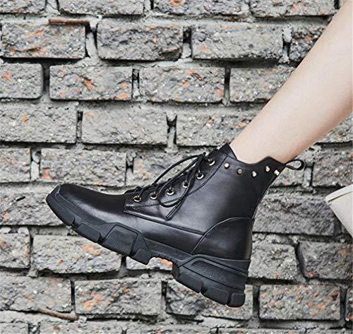 Casual Stivaletti In Scarpe Inverno Da Beige Zip Rivetto Donna Autunno Piattaforma Boots Martin Nero Pelle Yan Inghilterra n5qHxzwH