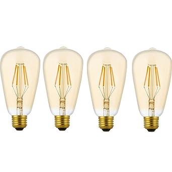 4 Pack Dimmbare LED E27 4W ST64 Filament Glühbirne Edison Vintage ...
