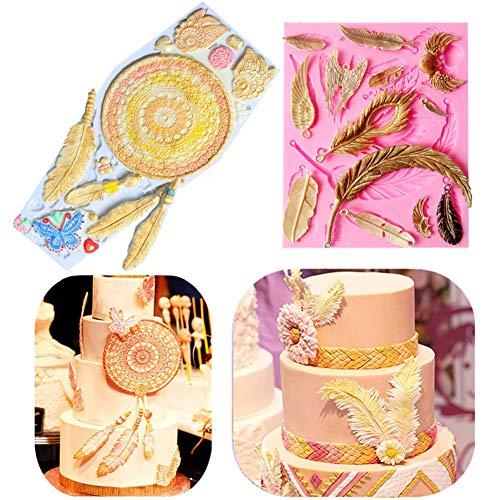- (Set of 2) Sakolla Dream Catcher Cake Decoration 3D Big Feathers Silicone Mold Fondant Mold DIY Cake Decorating Tool Candy Chocolate Mold