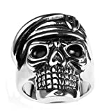 Bishilin Jewelry Men's Stainless Steel High Polished Soldier Skull Ring Silver Size 10