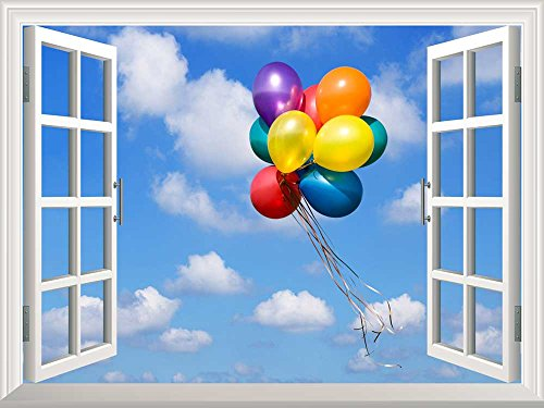 Removable Wall Sticker Wall Mural Colorful Balloons Flying in the Blue Sky Creative Window View Wall Decor