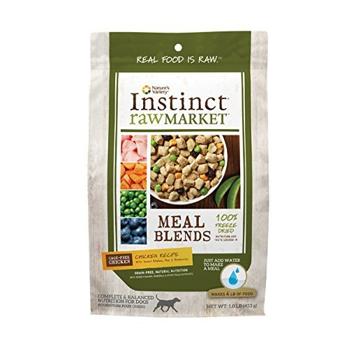 Instinct Freeze Dried Raw Market Grain Free Chicken Recipe Meal Blends for Dogs by Nature's Variety, 1 lb. Bag