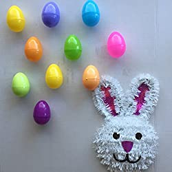 A Set of Hanging Easter Eggs, Bright and Colorful 3D Round (10 ct) & An Easter Bunny Door Hanging Decoration. A Really Fun Outdoor Easter Bundle (11 Items)