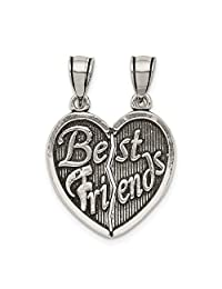 ICE CARATS 925 Sterling Silver Best Friends Bestfriend Friendship Break Apart Heart Pendant Charm Necklace Love Fine Jewelry Ideal Gifts For Women Gift Set From Heart