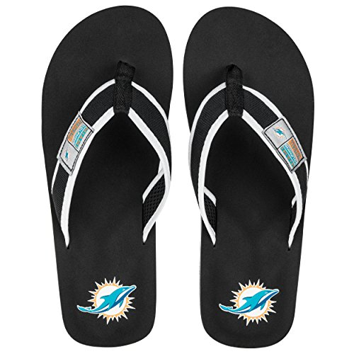 NFL Miami Dolphins Locker Label Contour Flip Flop Sandals, X-Large by FOCO