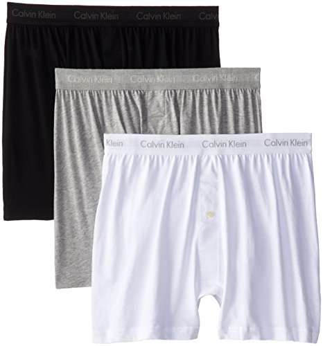 Calvin Klein Men's Cotton Classics 3 Pack Boxers, White/Black/Grey, Medium