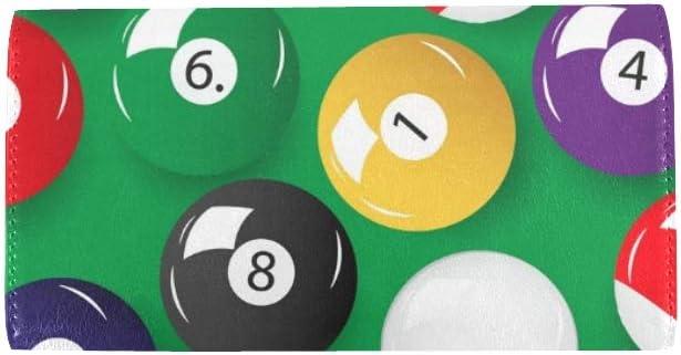 Conjunto Personalizado único Bolas de Billar de Color Monedero Triple para Mujer Monedero Largo Titular de la Tarjeta de crédito Bolso: Amazon.es: Equipaje