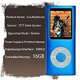 G.G.Martinsen 16 GB MINI USB Port Blue Portable MP3/MP4 Player with Multi-lingual OS , Multi-Functional MP3 Player / MP4 Player with Mini USB Port, Voice Recorder , Media Player , E-book reader (Blue)