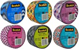 Scotch Brand Craft Weight Duct Tape Designs Multi Pack Bundle 6-Rolls Each Roll 1.88 inches Wide by 10 Yards Long (Multi 10)