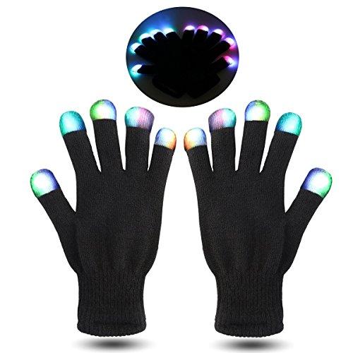 FOXNOVO LED Gloves 26cm 7 Colors Rave Finger Lighting Gloves Flashing for Party