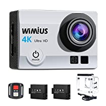 "Action Cam, WiMiUS 4k Sport Action Camera Full HD 16MP WIFI 2.0"" Schermo LCD, Fotocamera Subacquea Impermeabile 40m WebCamera 170°Grandangolare con 2 Batterie e Kit di Accessori (Argento)"