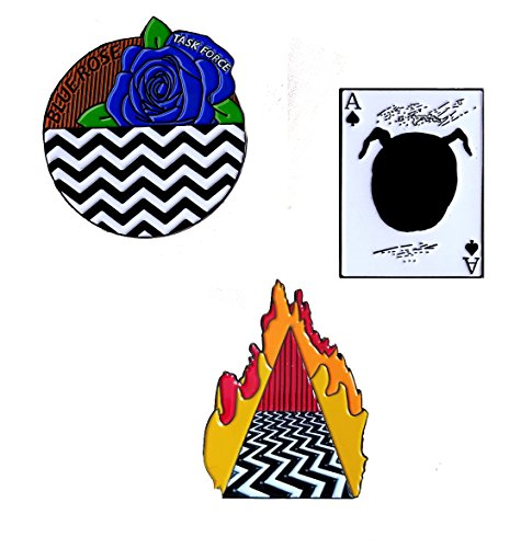 Twin Peaks Lapel Pin Set. Dougie Jones, Blue Rose, Evil Cooper Ace Card (Twin Mug Set)