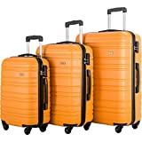 FLIEKS Luggages 3 Piece Luggage Set Spinner Suitcase (Orange)