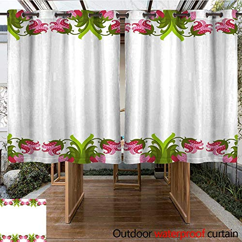 RenteriaDecor Outdoor Curtain for Patio Greeting Card with Seamless Floral Border Perfect for Spring Holiday Invitation W108 x -