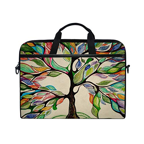 MRMIAN Retro Rainbow Tree of Life 15 inch Laptop Case Shoulder Bag Crossbody Briefcase Messenger Sleeve for Women Men Girls Boys with Shoulder Strap Handle, Back to School Gifts for Her Him