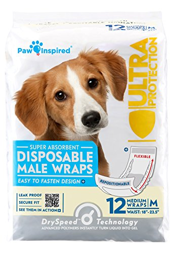 Paw Inspired Ultra Protection Disposable Male Wraps Bulk, Medium