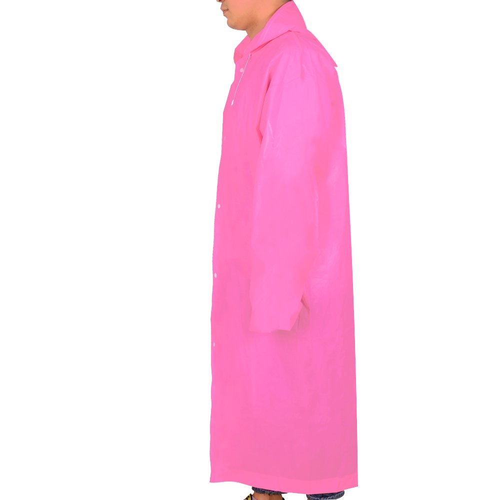 Alotpower Emergency Rain Poncho Reusable Raincoat With Hooded For Outdoor-One Size Fits Most,Pink