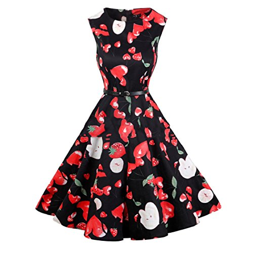 Swing Print Women Oversized Pattern13 Rockabilly Sleeveless Dress Hepburn Coolred Flower Aw0x6xX
