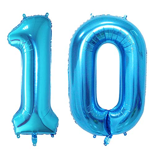 KEYYOOMY 40 in Big 10 Number Balloons Blue Large Foil Mylar Number 10 Balloons for 10 Birthday Party Anniversary Decorations (Number 10, 40 in, Blue Color) ()