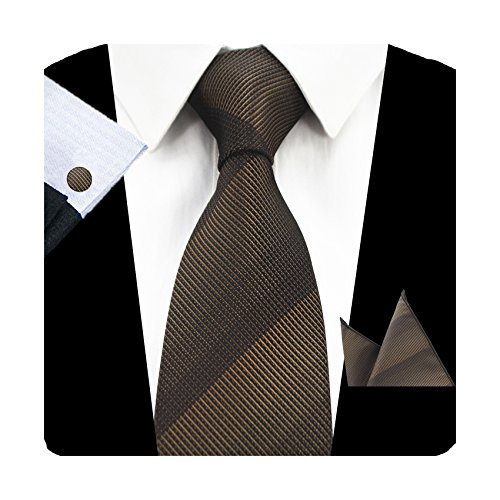 GUSLESON Fashion Solid Men Tie Set Striped Brown Necktie with Handkerchief and Cufflinks (0726-27) - Pattern Necktie Cufflinks