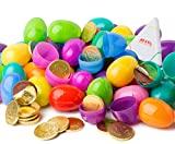 48 milk chocolate coin filled Easter eggs, surprise eggs filled with chocolate, 48 pack great for Easter eggs school hunt, Surprise Eggs Hinged Together. Certified kosher