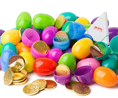 Chocolate Coin Filled Easter Eggs Set of 48 Plastic Surprise Shells with Golden Milk Chocolate Coins - For Hunts, Gift Baskets and Party Favors - Assorted Rainbow Colors by Big Deals (Rainbow Set Coin)
