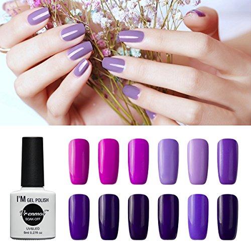 Vrenmol Gel Nail Polish Set 12pcs Purple Soak off UV LED Nail Polish Nail Lacquers Nail Art Manicure Kit ()